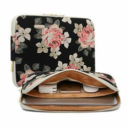 KAYOND 17 Inch Laptop Sleeve Black Floral Canvas Water-Resis