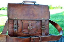 PL 16 Inch Vintage Leather Messenger Bag Briefcase/Fits upto
