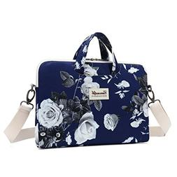 Canvaslife Big White Rose Patten Waterproof Laptop Shoulder