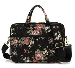 kayond Black Chinese Rose Canvas Fabric 14 inch Shoulder Bag