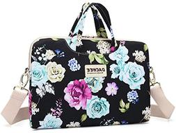 black flowers patten waterproof laptop