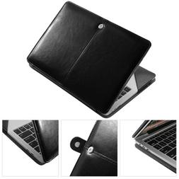 Black Leather Laptop Folio Case Cover For Apple MacBook Pro
