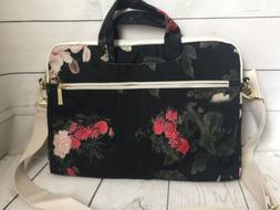 Dachee Black Peony Patten Laptop Shoulder Messenger Bag Case
