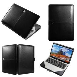 "Black Premium Leather Laptop Folio Case Cover For 13.3"" Appl"