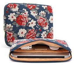 Kayond Bule Rose Pattern 12-13 inch Canvas laptop sleeve wit