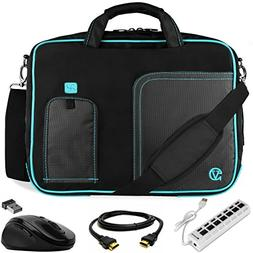 VanGoddy Blue Trim Laptop Bag w/ HDMI Cable , USB HUB & Mous