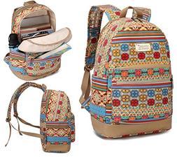 Kinmac Bohemian Canvas Small Size Laptop Backpack with Massa