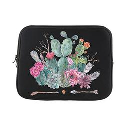 boho watercolor cactus flowers feathers
