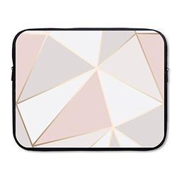 Business Briefcase Laptop Sleeve Rose Gold Geometric Pattern