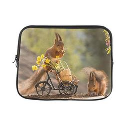 Design Custom Red Squirrel Standing On Bicycle with Flowers