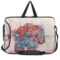 "Laptop Shoulder Bag 15.6,15""-15.4 inch Colorful Retro Elepha"