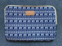cute designer blue and white elephant patterned laptop case