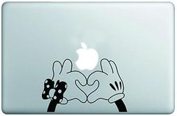 Cute Mickey & Minnie Hands Creating Heart Vinyl Decal Sticke