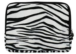 Faux-fur Textured Zebra Print Laptop Sleeve Carrying Case fo