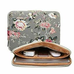 KAYOND Gray Rose Pattern 11 inch Canvas laptop sleeve with p