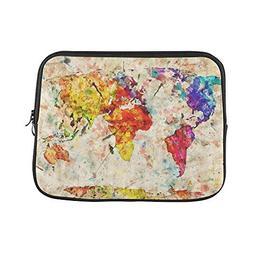 InterestPrint Grunge Map of The World Laptop Sleeve Case Bag
