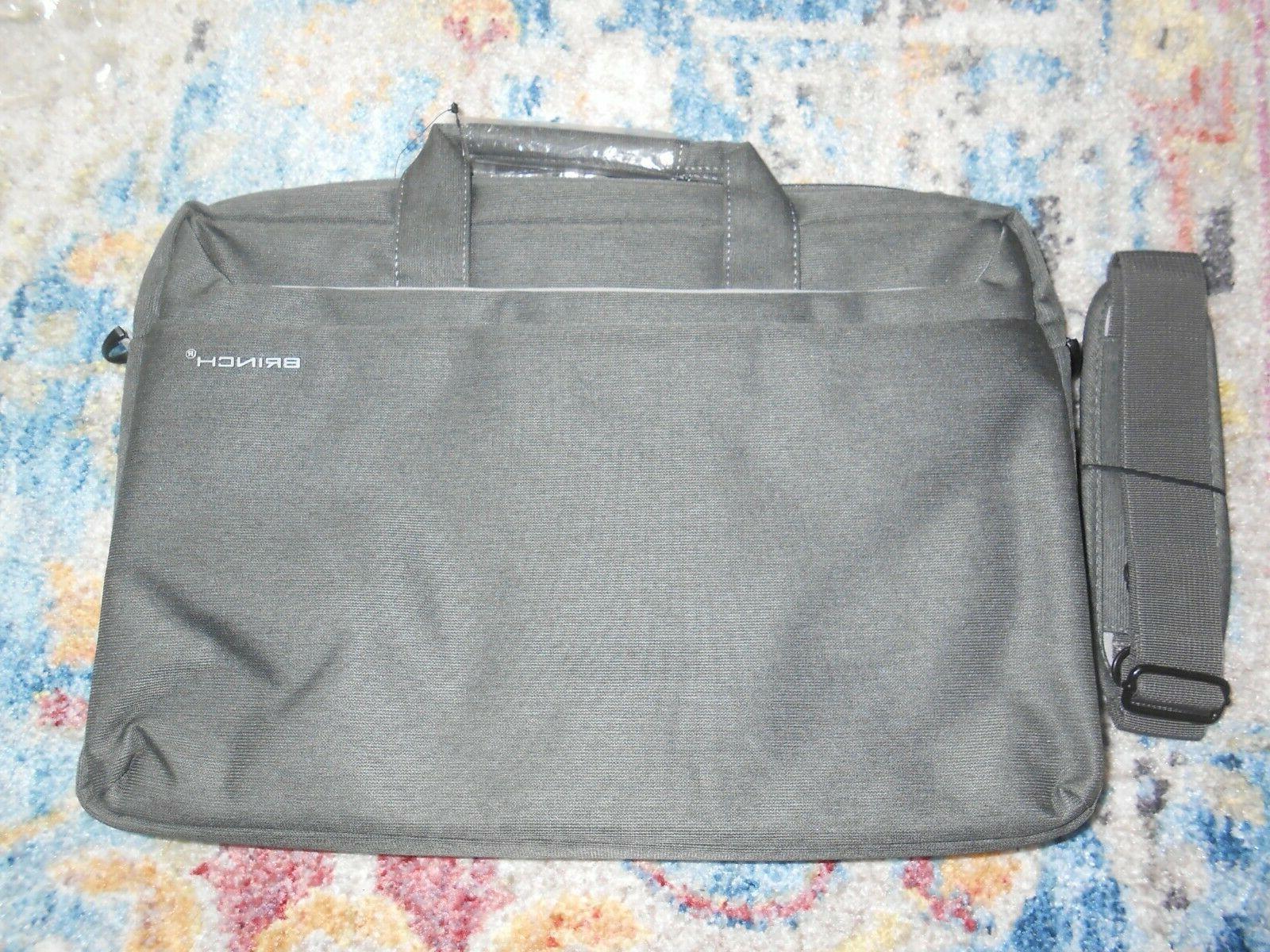"""Brinch 15.6"""" Dark Gray Fabric Lightweight  Laptop Shoulder C"""