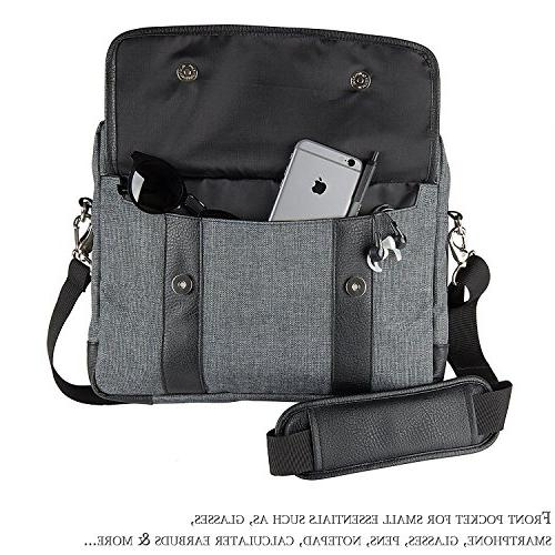15 ~ Laptop Bag, Twill Vegan Shoulder For Laptop, Ultrabooks, Chromebooks Netbook Computers