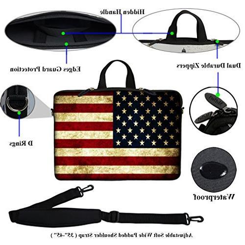 Meffort 17 17.3 inch Neoprene Laptop Bag Hidden and Shoulder Flags