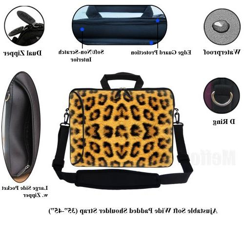 Meffort inch Sleeve with Side & Shoulder Strap for Size Computer Leopard Prints