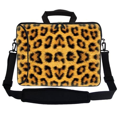 "Meffort 17 inch Neoprene Sleeve Pocket, Carrying Handle & Shoulder for 16"" to Size Computer - Leopard Prints"