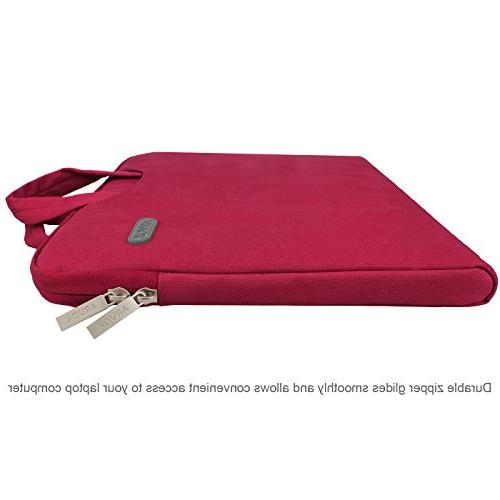 Arvok 13.3 Inch Laptop Handle & Pocket/Notebook Computer Case/Ultrabook Briefcase Carrying Cover for Red
