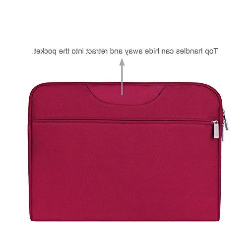 Arvok Inch Water-Resistant Canvas Fabric & Pocket/Notebook Computer Case/Ultrabook Briefcase Carrying Cover Acer/Asus/Dell/Lenovo/HP,Wine Red