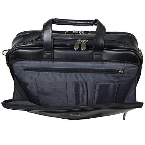 Alpine Swiss Monroe Briefcase Top-Zip Bag Black