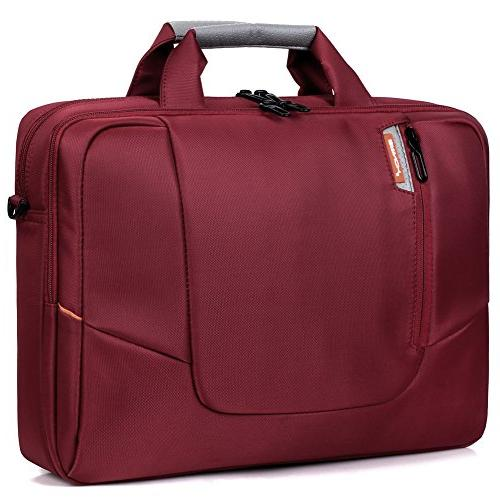 BRINCH Soft Nylon Waterproof Laptop Computer Case Sleeve Shoulder Strap Bag Side Pockets Detachable for Laptop / Notebook / Chromebook,Colour Red
