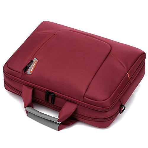 BRINCH 17.3 Soft Waterproof Computer Case Shoulder Bag Side Pockets Handles and Detachable / Notebook Chromebook,Colour Red