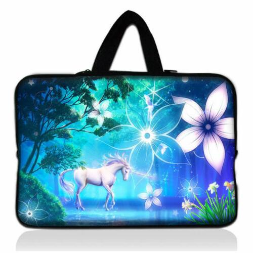 Cute Unicorn Laptop Sleeve Bag Case With Hide Handle For 15'