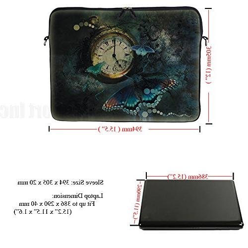 Meffort Inc 15 inch Neoprene Bag Case Hidden Handle and Adjustable Shoulder Clock Butterfly