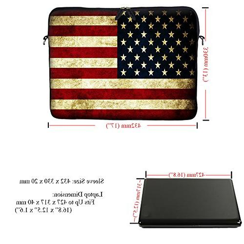 Meffort Inc 17 inch Neoprene Laptop Bag Carrying Case with Hidden Handle and Adjustable Shoulder Flags