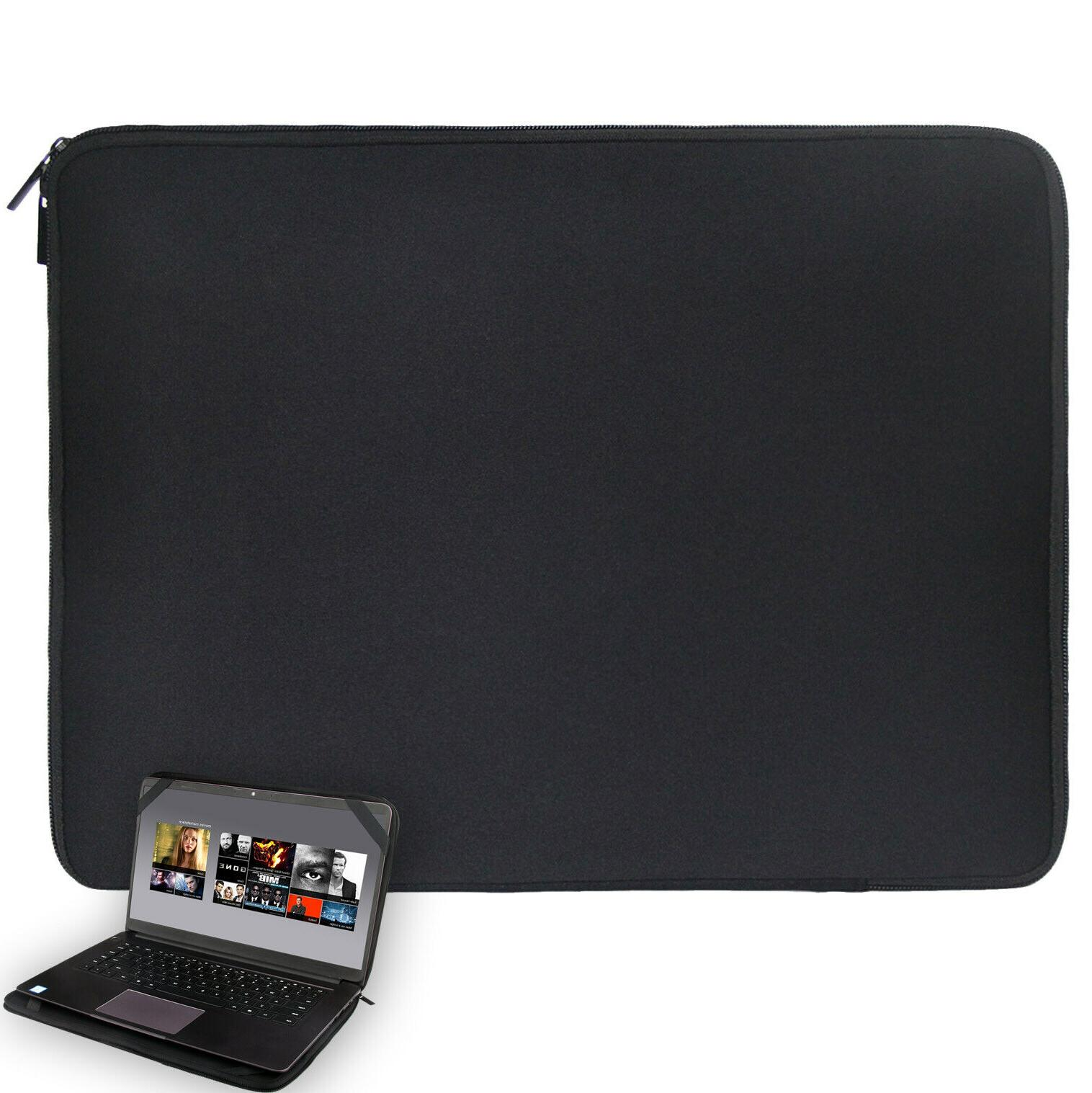 "Black 15 15.6""  Laptop Sleeve Bag Case Cover W/4 Straps For"