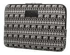 Kayond Black Elephant Patterns Canvas Fabric 11 Inch Laptop