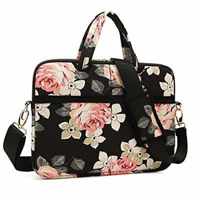 kayond Black Rose Canvas Fabric 15.6 inch Shoulder Bag