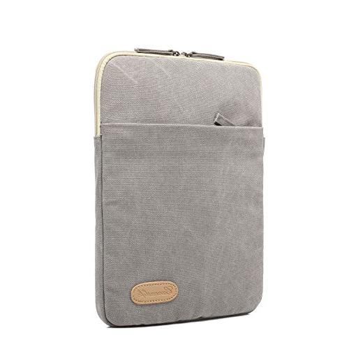 Canvaslife gray Canvas Vertical Style Water Laptop Sleeve with Pocket 13 Inch Macbook 13 bag Sleeve 13.3