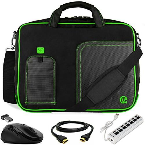 green trim laptop bag w