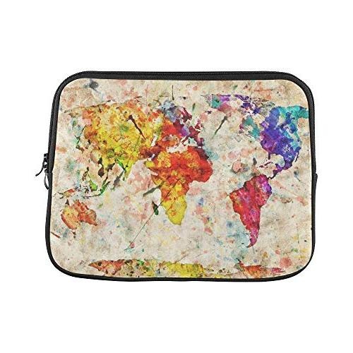 grunge map world laptop sleeve