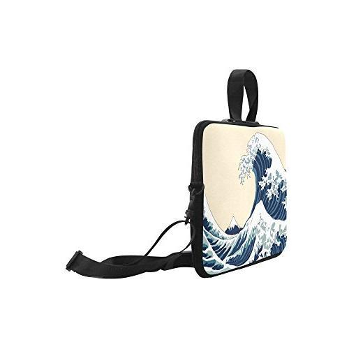 InterestPrint Laptop Sleeve Case Great Wave Shoulder Strap Laptop Bag Inch Macbook Air Ultrabook