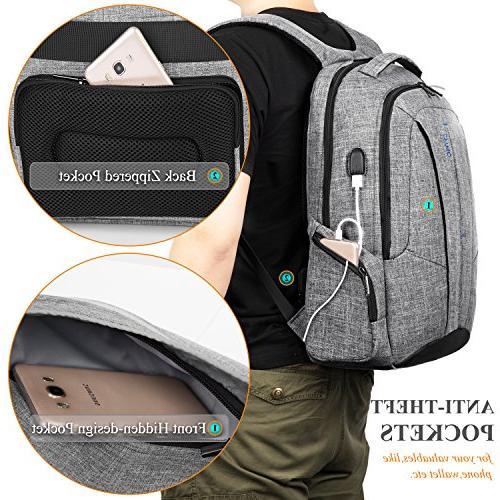 "DTBG Inch Backpack Port Business Backpack for / School Computer for Laptops 17.3"",Gray"