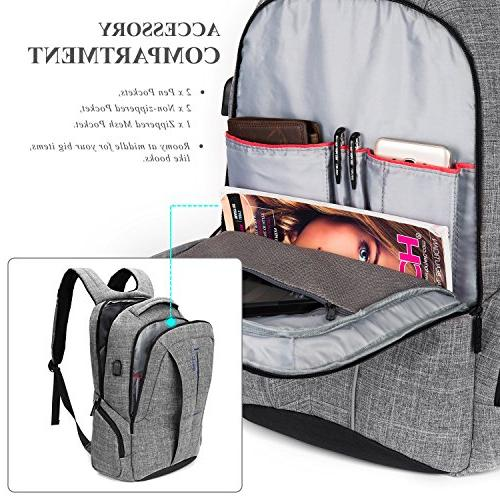 """DTBG 17 Backpack Charging Port Pockets,Stylish Travel Business Women / School Bag Computer for Laptops Up to 17.3"""",Gray"""