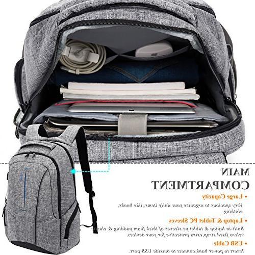 "DTBG 17 Inch Laptop Backpack Port Pockets,Stylish Business Backpack for Women School Bag Computer for Laptops to 17.3"",Gray"