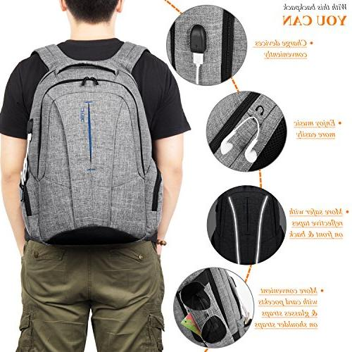 """Backpack with USB Port Anti-theft Pockets,Stylish Business Backpack School for Laptops Up 17.3"""",Gray"""