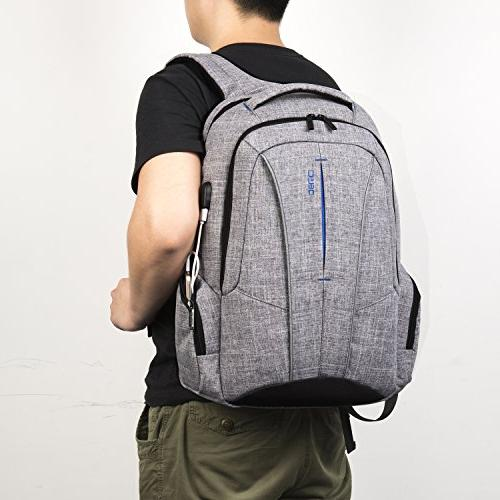 "DTBG 17 Backpack USB Port Anti-theft Travel Business / Daypack School Backpack for Laptops Up 17.3"",Gray"