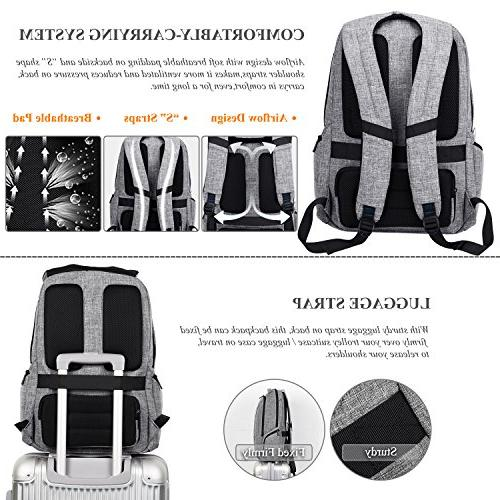 "DTBG 17 Inch Backpack with Port Pockets,Stylish Business / Men,Slim School Bag Computer for Laptops Up 17.3"",Gray"