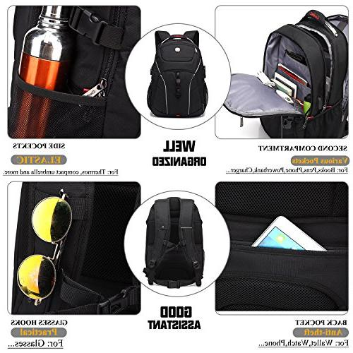 Laptop Inch Bag USB Water-Resistant Hiking Knapsack Fits Laptop for