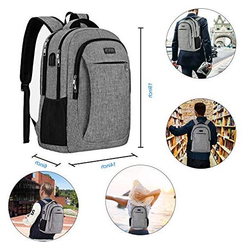 Travel with USB Charging Port and Interface, School Bag 17 Notebook-Grey