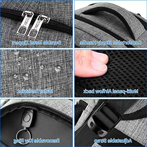 Travel Backpack, Anti Theft with and Headphone Backpack Men School 17 Inch and Notebook-Grey