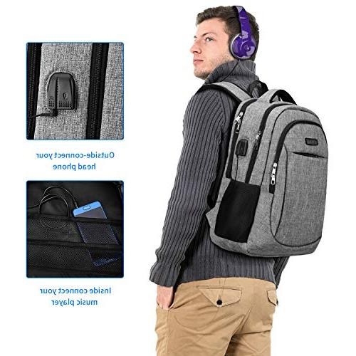 Travel Backpack, IIYBC Anti Theft with and Interface, Backpack for School 17 Inch Notebook-Grey